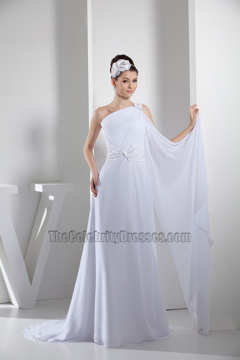 White Chiffon Beaded One Shoulder Formal Dress Prom Gown ...
