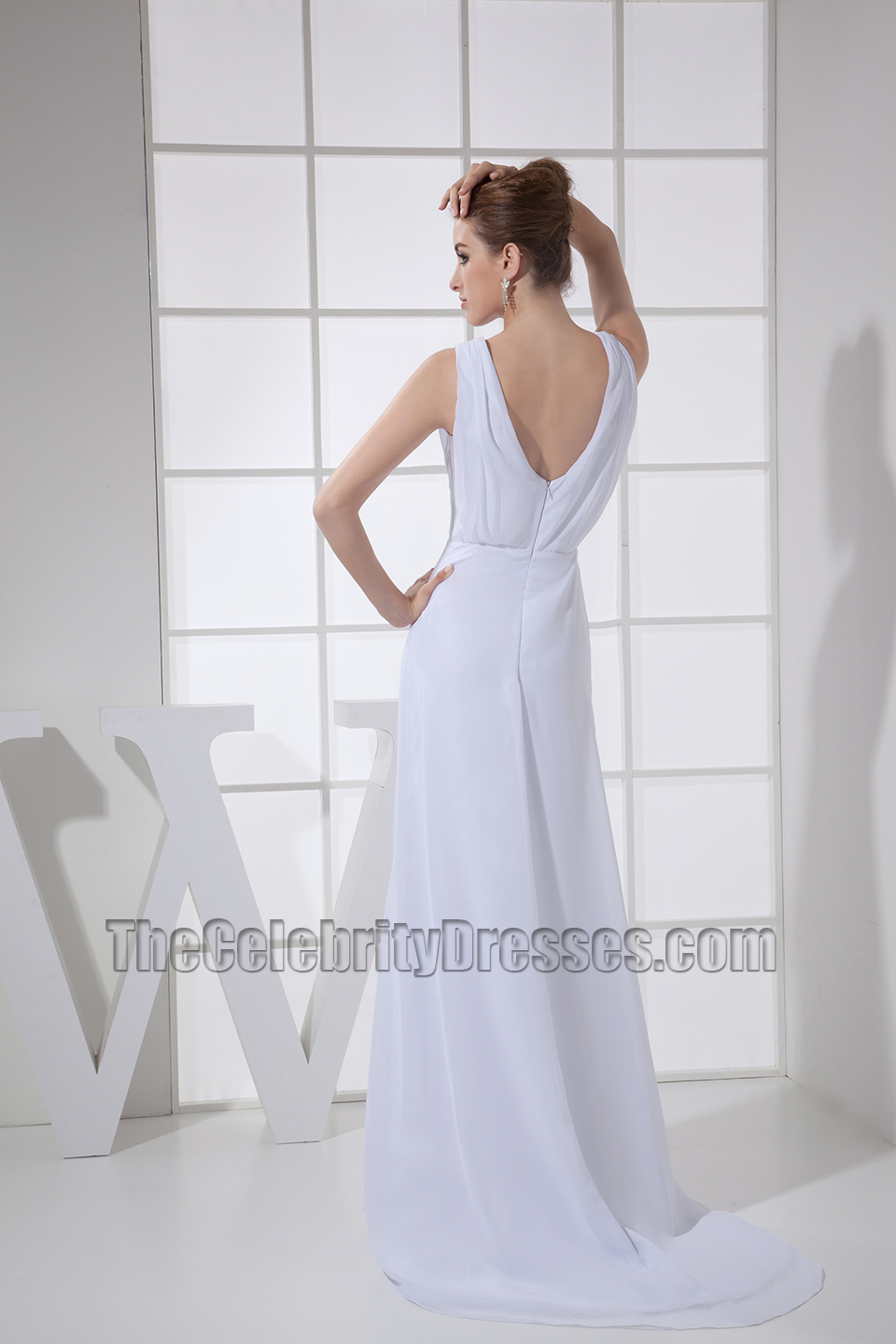 Simple White Chiffon Prom Dress Evening Formal Dresses ...
