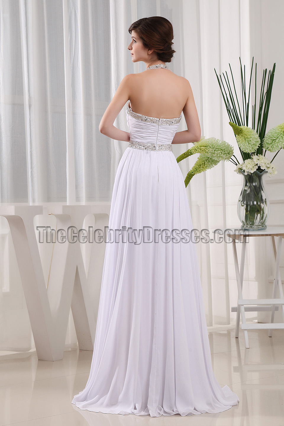 White Beaded Halter Prom Dress Evening Formal Gowns ...