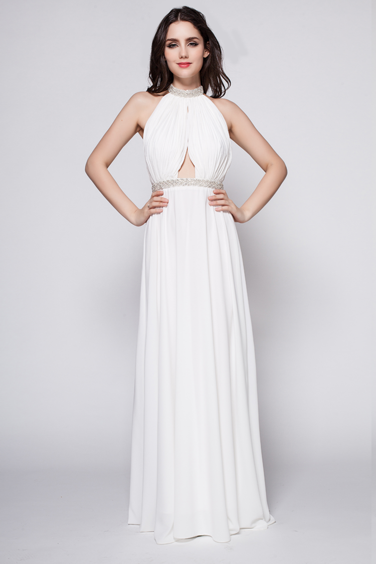White Floor Length Beaded Backless Evening Dress Prom Gown    TheCelebrityDresses