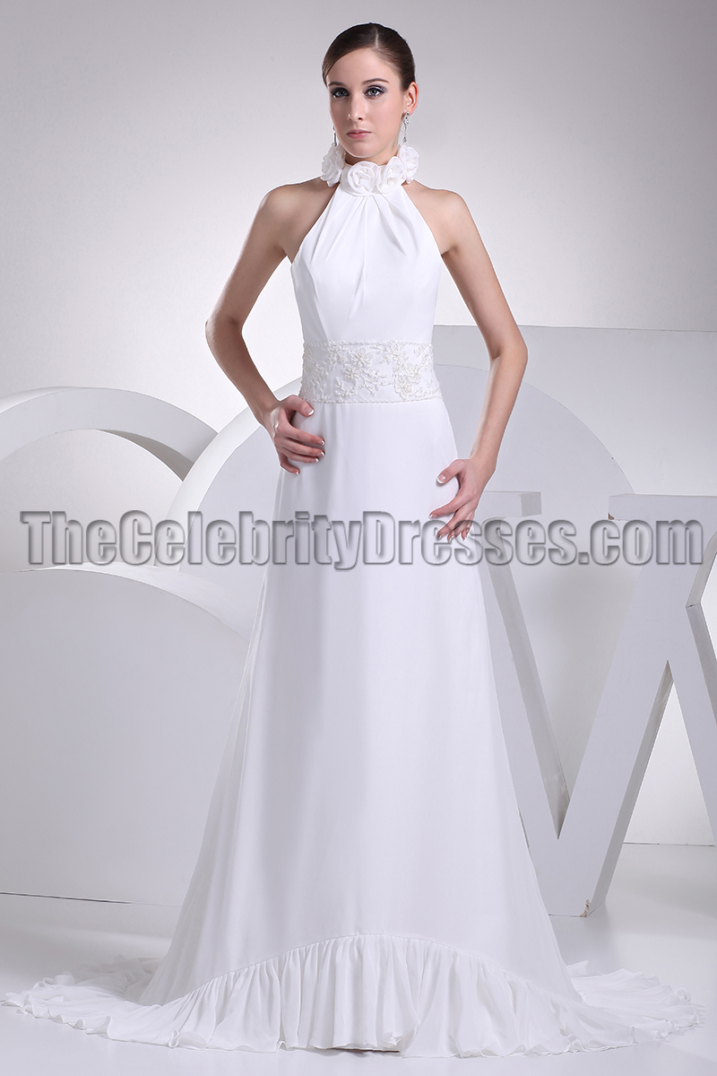 White Halter Backless Prom Gown Evening Dresses Thecelebritydresses