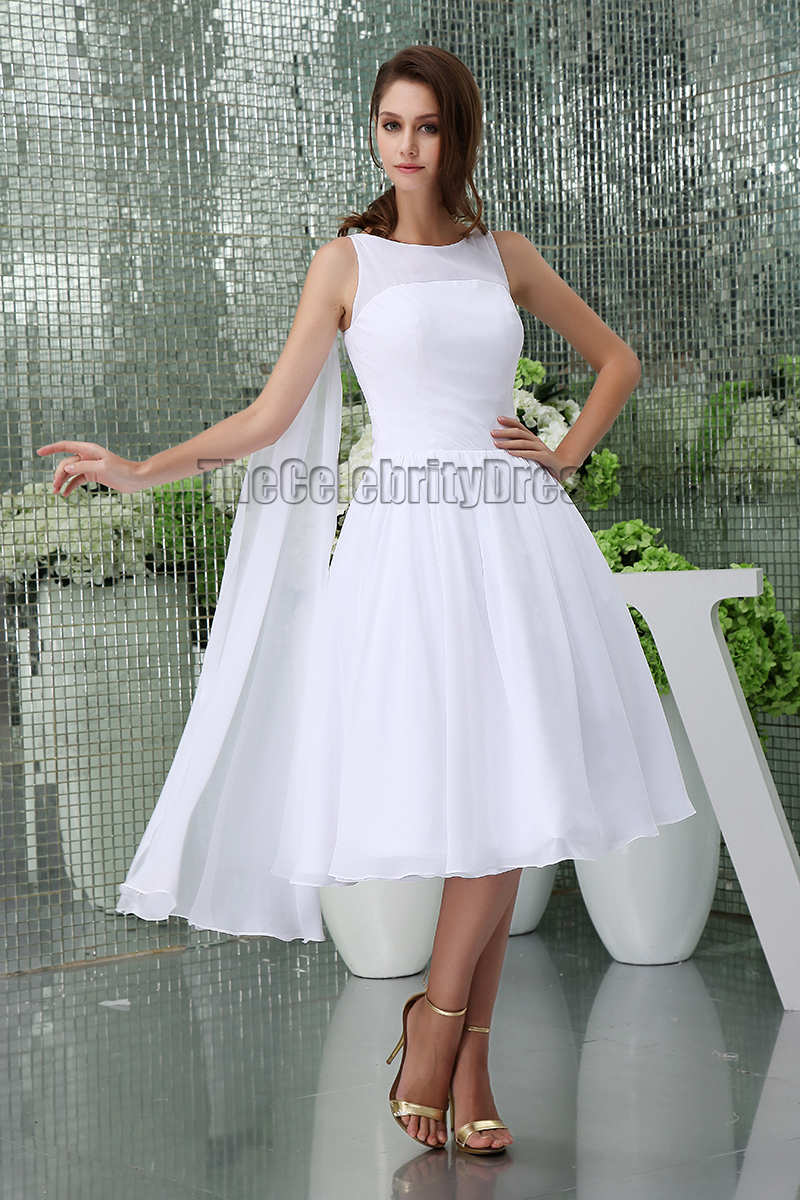 White Knee Length A-Line Cocktail Short Wedding Dresses ...