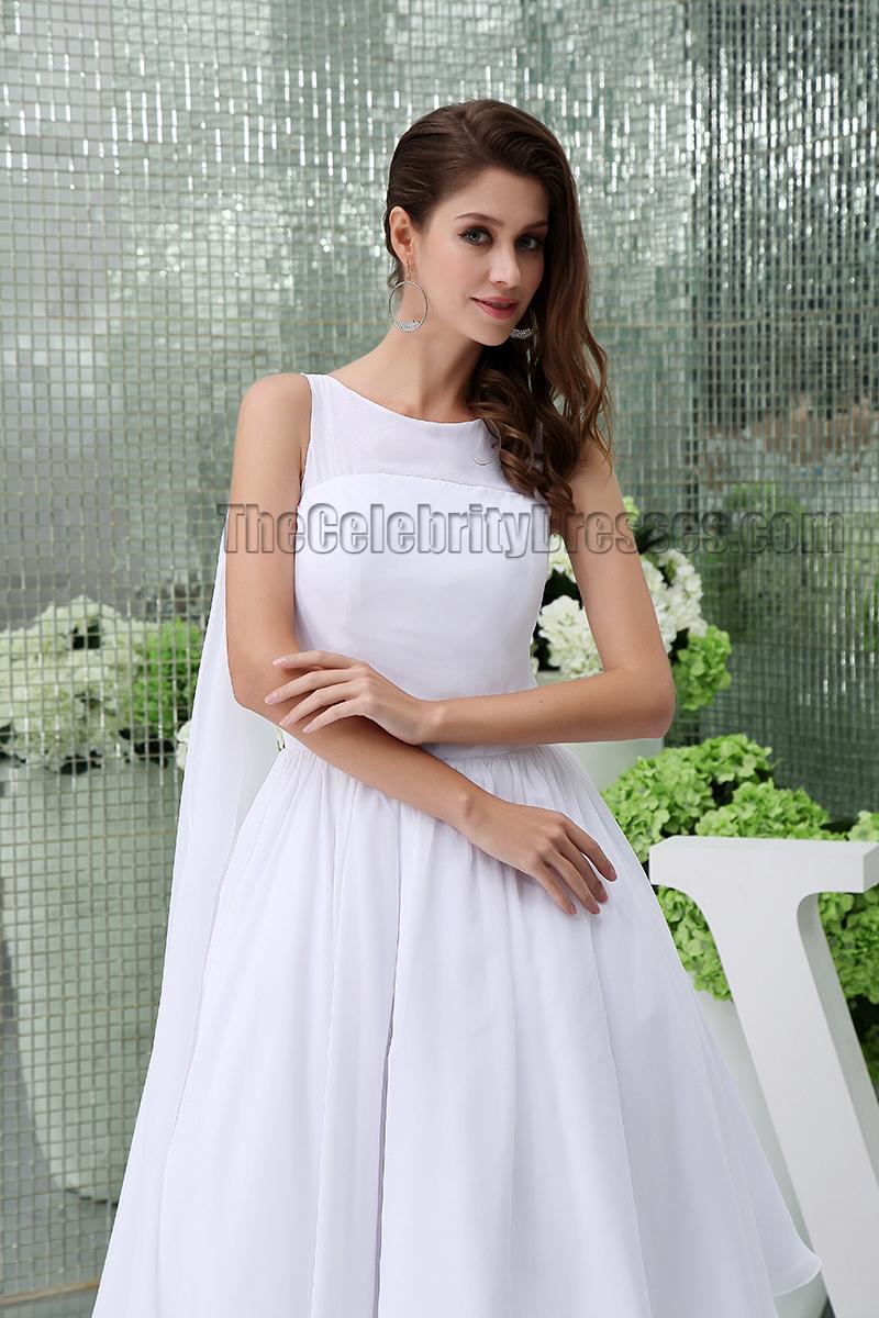 White Knee Length A-Line Cocktail Short Wedding Dresses ...