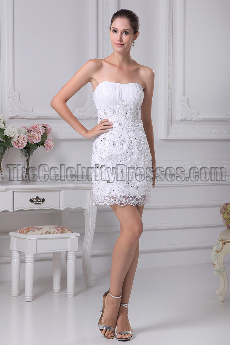 White Lace Short Strapless Party Homecoming Dresses ...