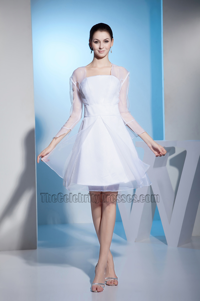 White Long Sleeve Organza Short Wedding Dress Cocktail Dresses ...