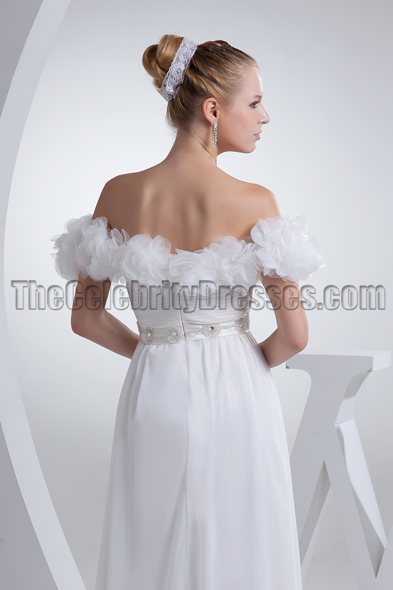 White Off-the-Shoulder Prom Gown Evening Pageant Dresses ...