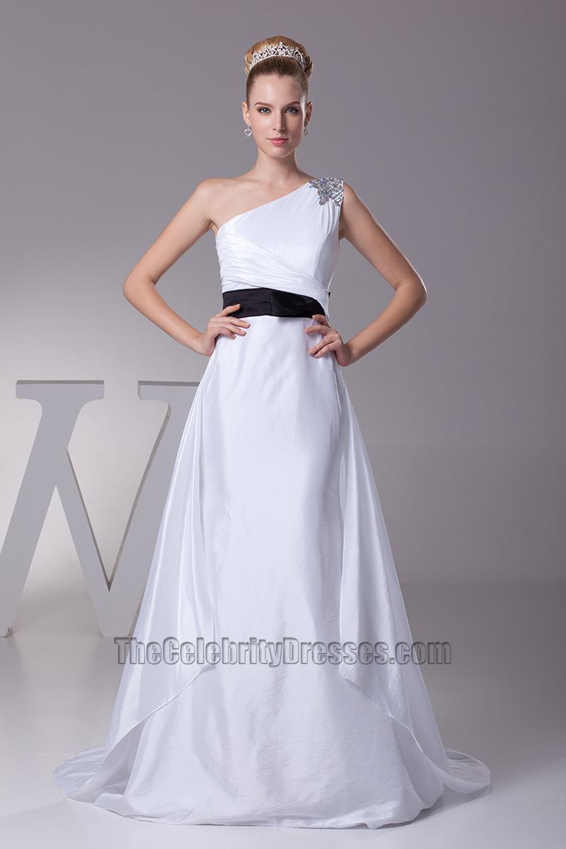 White One Shoulder A-Line Wedding Dress With Black Belt ...
