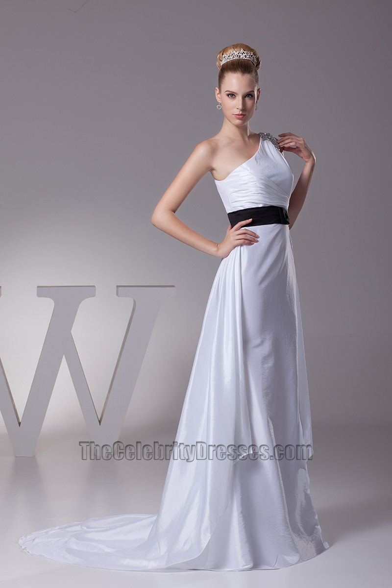 White One Shoulder A-Line Wedding Dress With Black Belt - TheCelebrityDresses