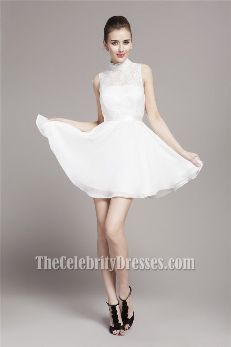 White Short A-Line High Neck Party Homecoming Dresses ...