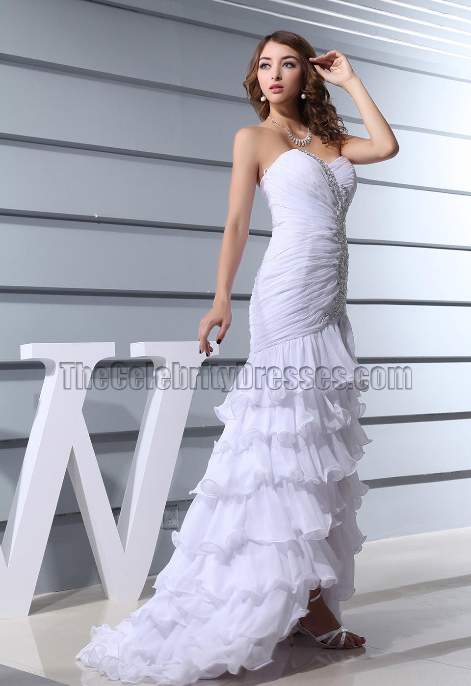 White Strapless Mermaid Evening Formal Prom Dresses ...