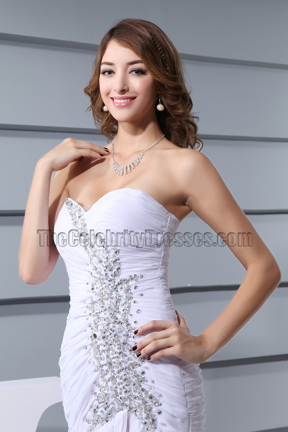 White Strapless Mermaid Evening Formal Prom Dresses ...