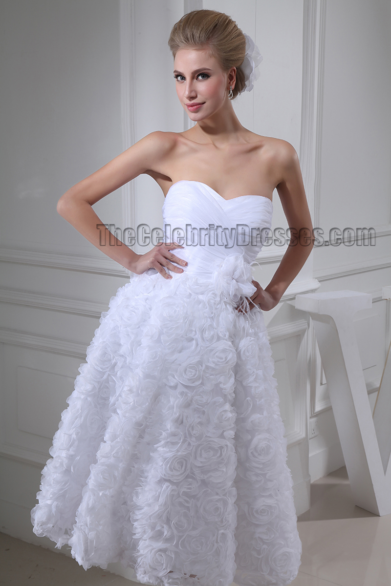 White Sweetheart Strapless Tea Length A Line Cocktail Wedding Dress