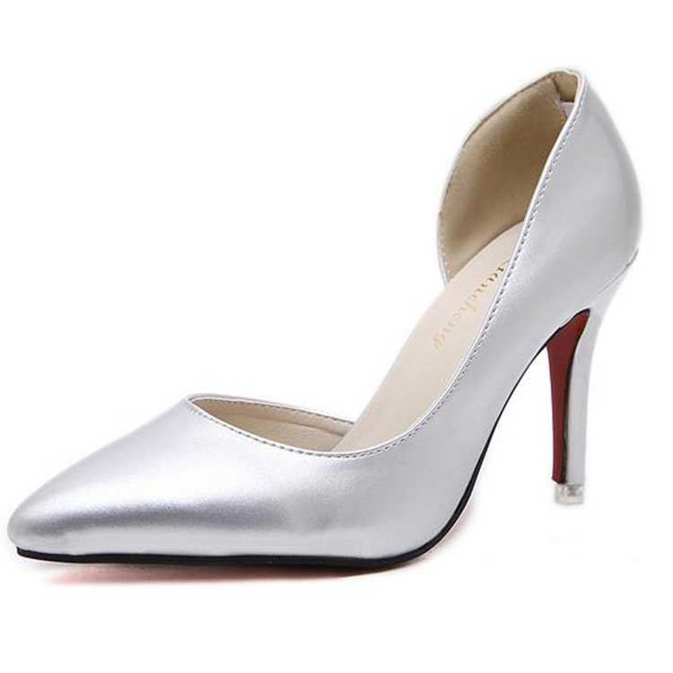 Women S Sexy Silver Party Prom Shoes With Stiletto Heels
