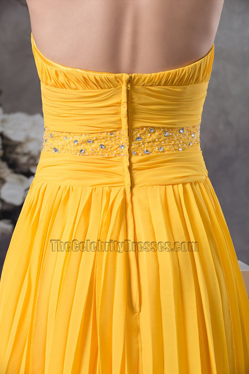 Yellow Knee Length Halter Chiffon Cocktail Bridesmaid