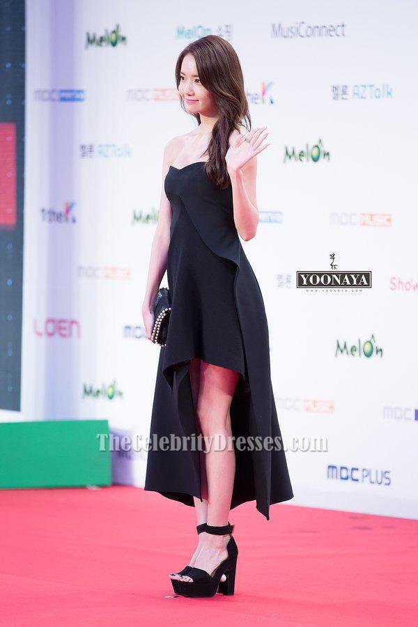 Yoona Black Strapless Prom Dress 2015 Melon Music Awards ...