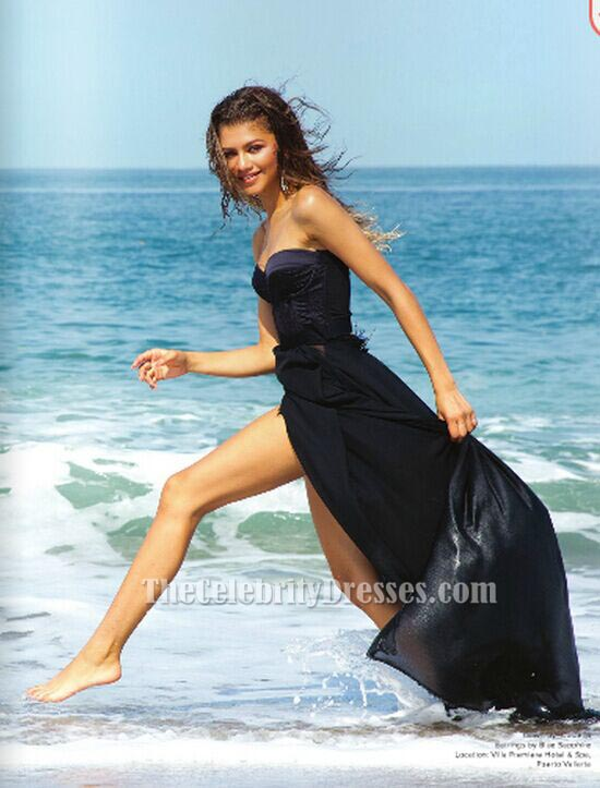 Zendaya Coleman Black Strapless Evening Prom Dress
