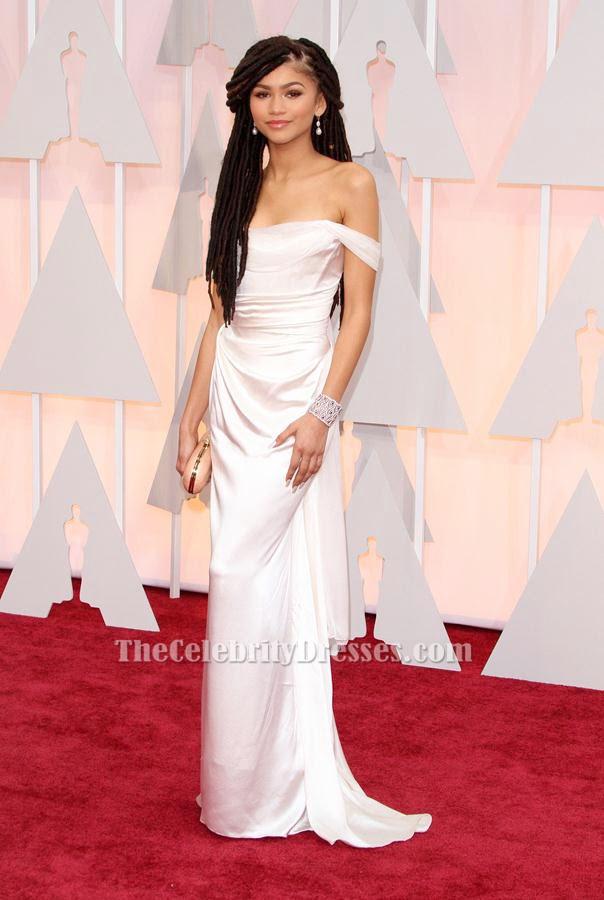 4e20c471575 Zendaya Coleman Ivory Prom Formal Dress 2015 Oscars Red Carpet -  TheCelebrityDresses