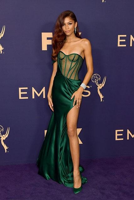 Zendaya Coleman Dark Green One Shoulder Dress 2019 Emmys