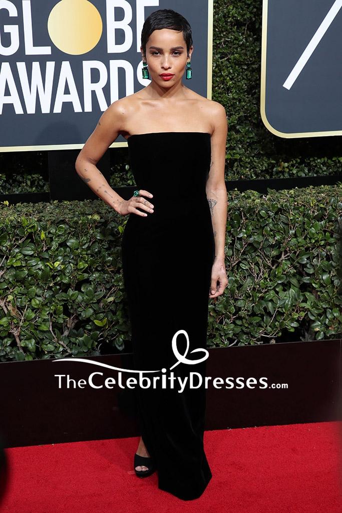 Zo Kravitz Black Strapless Velvet Evening Dress 2018 Golden Globe