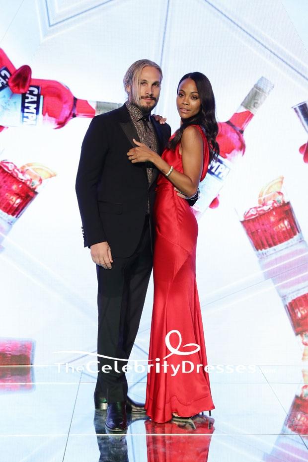 5b68017645 Zoe Saldana Red Evening Dress  Campari Red Diaries  Milan Premiere Gown -  TheCelebrityDresses