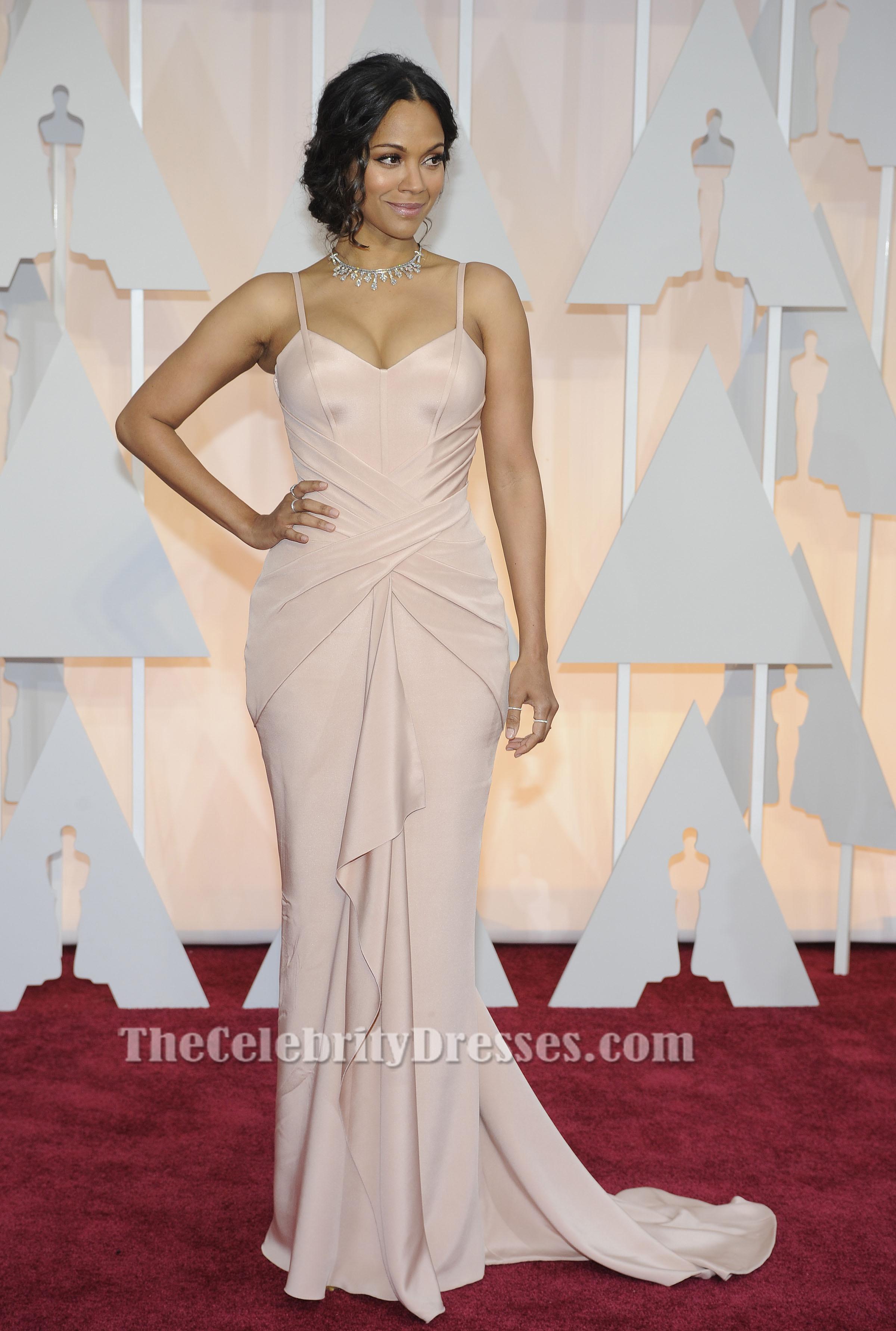 Zoe Saldana Soft Pink Formal Evening Dress 2015 Oscars Red Carpet ...